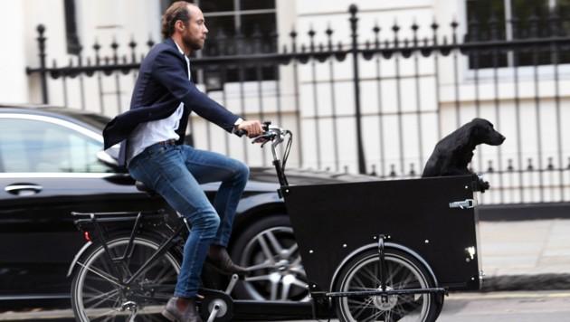Der Hund fühlt sich im Transportfahrrad seines Herrchens James Middleton sichtlich wohl. (Bild: www.PPS.at)