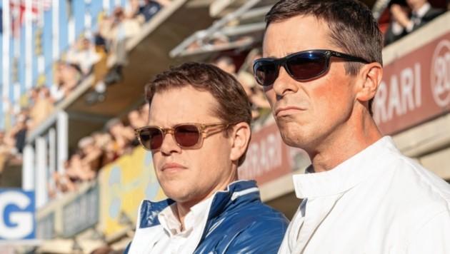 """In """"Le Mans 66 """" erzählen sie die wahre Geschichte von Shelby und Miles: Matt Damon und Christian Bale. (Bild: 20 Century Fox Film)"""