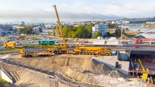 Die Arbeiten an den beiden Bypassbrücken für die Linzer Voestbrücke schreiten voran. (Bild: Asfinag)