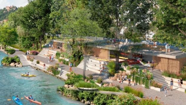 Das Stadtbootshaus am Marburger Kai soll alle Stückerl spielen. (Bild: Rendering DI Nina Kuess)