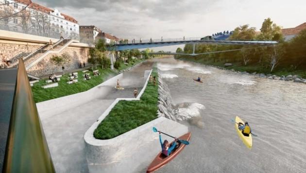 So soll der spektakuläre Wildwasserkanal an der Mur aussehen. (Bild: Rendering Kratzer & Partner ZT G)