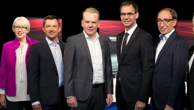 Von links: NEOS-Landessprecherin Sabine Scheffknecht, SPÖ-Chef Martin Staudinger, FPÖ-Chef Christof Bitschi, Landeshauptmann Markus Wallner (ÖVP), Grünen Chef Johannes Rauch (Bild: APA/DIETMAR MATHIS)