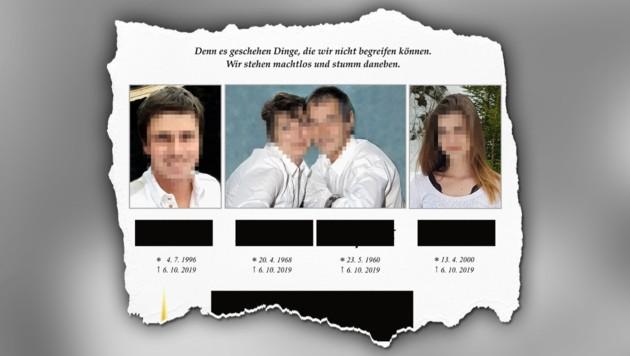 Der Partezettel der Familie (Bild: facebook.com, krone.at-Grafik)