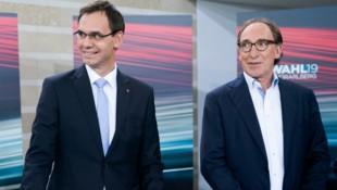 ÖVP-Spitzenkandidat und Landeshauptmann Markus Wallner und Grünen-Spitzenkandidat Johannes Rauch am 13. Oktober nach der Vorarlberger Landtagswahl (Bild: APA/GEORG HOCHMUTH)