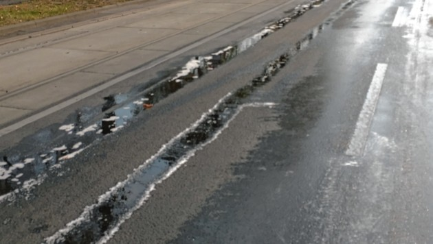 Wegen eines undichten Filters hinterließ der Pkw eine Ölspur (Symbolbild). (Bild: Video 3 wienweitmedien)