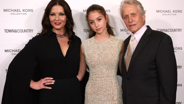 Catherine Zeta-Jones und Michael Douglas mit Tochter Carys (Bild: 2018 Getty Images)