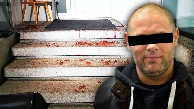 Der Tatort in der Asylwerberunterkunft an der Grenze, wo Jamal A. den Betreuer attackierte (Bild: Matthias Lauber/laumat.at, LPD OÖ, krone.at-Grafik)