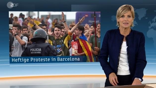 In Barcelona trug ein Demonstrant ein altes Sturm-Graz-Trikot (Bild: Screenshot/ZDF)