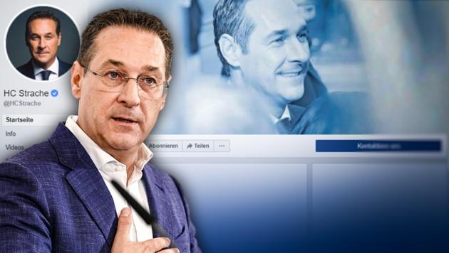 """Strache kämpft um die Facebook-Seite """"HC Strache"""". (Bild: APA/HANS PUNZ, Screenshot facebook.com, krone.at-Grafik)"""
