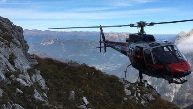 Der Polizeihubschrauber war in den Gailtaler Alpen im Einsatz. (Bild: LPD Kärnten)