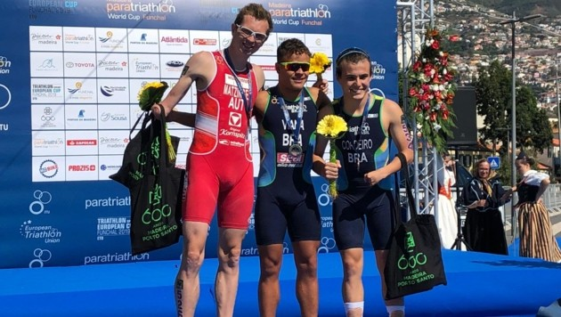 Günterh Matzinger (li.) durfte beim Para-Triathlon-Weltcup in Funchal (Por) über Rang zwei jubeln. (Bild: Günther Matzinger)