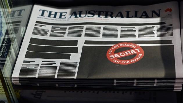 Australiens Zeitungen schwärzen ihre Titelseiten
