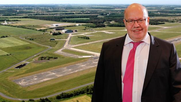 Der Ex-Militärflugplatz Nordholz - ein möglicher Standort für einen deutschen Weltraumbahnhof (Bild: Wikipedia/Martina Nolte (CC BY-SA 3.0 de), APA/AFP/Axel Schmidt, krone.at-Grafik)