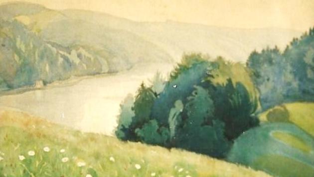 """Der """"Blick ins Donautal"""" von Anton Lutz ist wieder aufgetaucht. (Bild: privat)"""