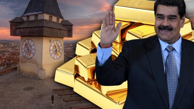In Graz wollte Venezuelas Präsident Nicolas Maduro offenbar 1,4 Milliarden Euro an Goldreserven einschmelzen und weiterverkaufen. (Bild: YURI CORTEZ/AFP, thinkstockphotos.de (2))