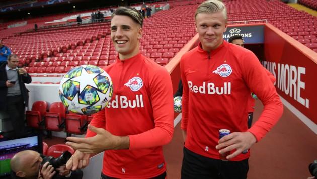 Da spielten sie noch zusammen in Salzburg: Dominik Szoboszlai und Erling Haaland. (Bild: GEPA)