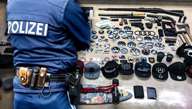 Das ist das Diebesgut, das die Polizei sicherstellen konnte. Darunter befindet sich unter anderem eine Langwaffe. (Bild: GPI Flughafen, stock.adobe.com, krone.at-Grafik)
