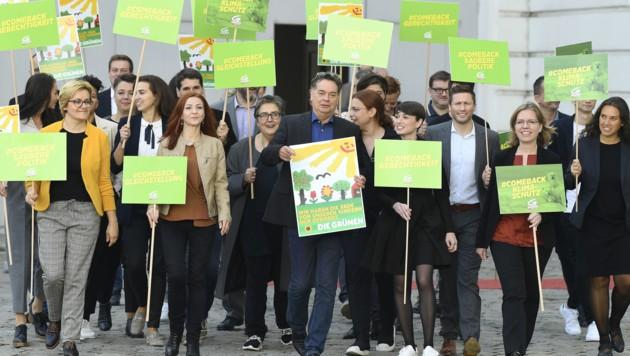 Grünen-Chef Werner Kogler mit seiner Parlamentstruppe (Bild: APA/Robert Jäger)