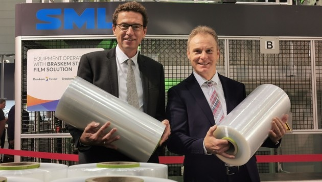 SML-Geschäftsführer Karl Stöger (r.) mit Stephan Kubinger, Obmann-Stellvertreter der Sparte Industrie der Wirtschaftskammer OÖ. (Bild: Barbara Kneidinger)