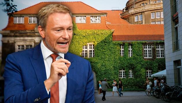 FDP-Vorsitzender Christian Lindner, die Universität Hamburg (Bild: AFP, wikipedia.org/Ctsu, krone.at-Grafik)