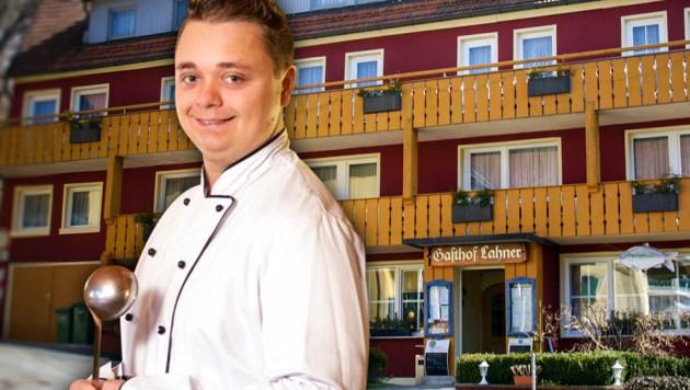 Marcus Müller vor seinem Lokal, dem Landgasthaus Lahner (Bild: facebook.com/LandgasthofLahner, krone.at-Grafik)