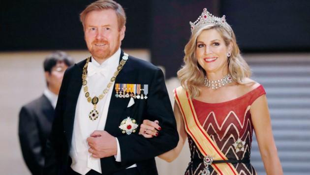 König Willem-Alexander und Königin Maxima (Bild: Kyodo News)
