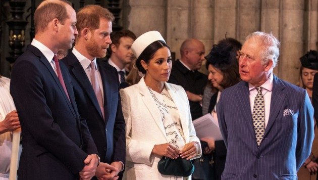 Prinz William, Prinz Harry, Herzogin Meghan, Prinz Charles (Bild: AFP)