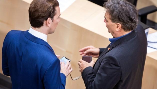Haben viel zu besprechen: ÖVP-Chef Kurz (li.) und Grünen-Chef Kogler (Bild: APA/GEORG HOCHMUTH)