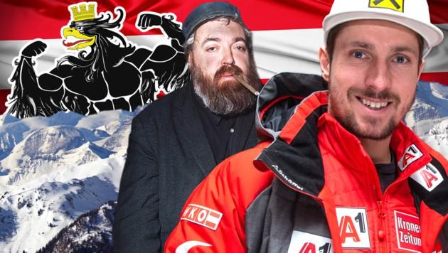 "Identitätsstiftend: Helmut Qualtinger als ""Herr Karl"" und Ski-Ass Marcel Hirscher (Bild: GEPA, dpa/A0060 Horst Ossinger, stock.adobe.com, krone.at-Grafik)"
