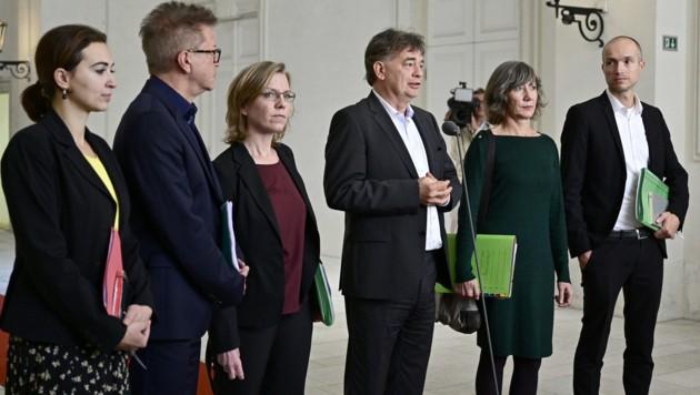 Das Verhandlungsteam der Grünen (Bild: APA/HANS PUNZ)