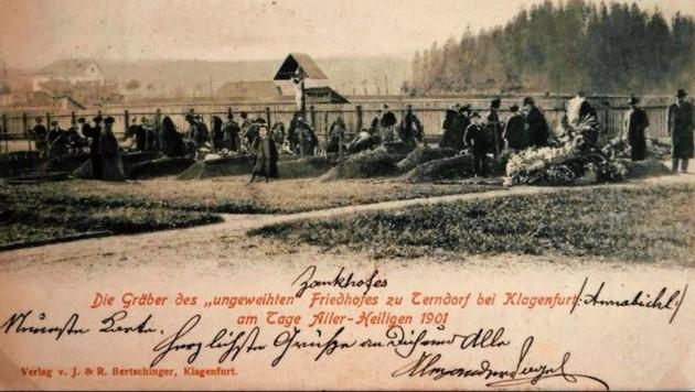 """Der neue Friedhof in Annabichl wurde um das Jahr 1902 sogar auf einer Ansichtskarte abgedruckt. Richtig kurios: Das Wort """"Friedhof"""" hat der Absender durchgestrichen und durch """"Zankhof"""" ersetzt. (Bild: TAÖ/AAvK)"""