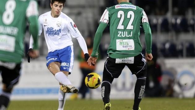 7. Dezember 2013: Marco Oberst, damals 17, debütierte mit 17 unter Coach Adi Hütter in der Bundesliga. (Bild: ANDREAS TRÖSTER)