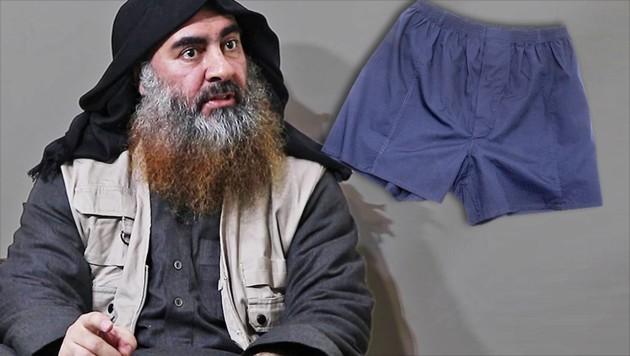 Abu Bakr al-Baghdadi dürfte seine Unterwäsche zum Verhängnis geworden sein. Die im Bild zu sehende Unterhose ist aber nicht die entwendete. (Bild: AFP, stock.adobe.com, krone.at-Grafik)