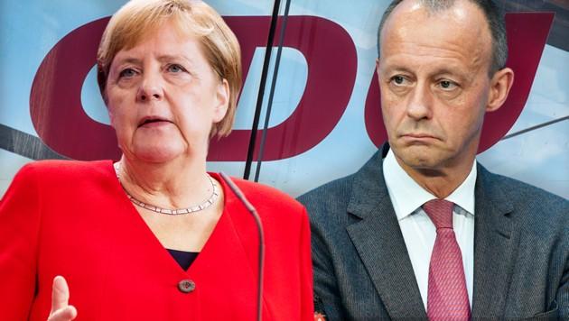 Ex-Unionsfraktionschef Friedrich Merz greift Kanzlerin Angela Merkel frontal an. (Bild: AFP, krone.at-Grafik)