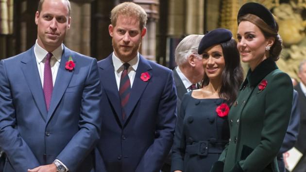 Prinz William, Prinz Harry, Herzogin Meghan, Herzogin Kate (Bild: Royalfoto / Action Press / picturedesk.com)