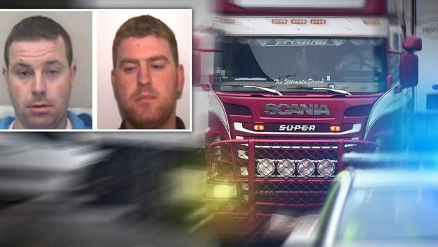 """Christopher und Ronan Hughes aus Nordirland gelten für die Polizei von Essex derzeit als die """"Most Wanted"""" im Fall der 39 Lkw-Leichen. (Bild: Ben STANSALL/AFP, AFP, krone.at-Grafik)"""