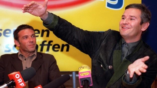Der damalige FPÖ-Bundesparteiobmann Jörg Haider und Harald Fischl (Bild: APA)