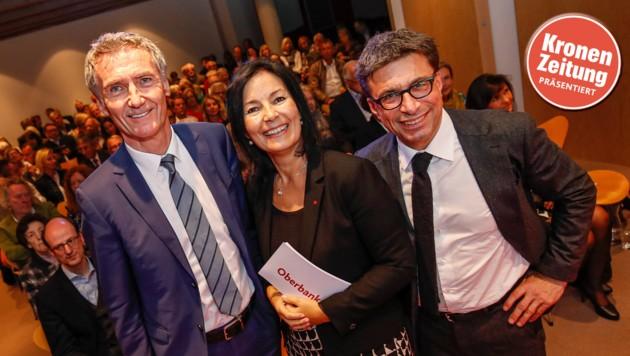"""""""Krone""""-Chefredakteur Claus Pándi mit Oberbank Vorstand Josef Weißl (li.) und Bankdirektorin Petra Fuchs. (Bild: Markus Tschepp)"""