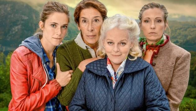 Miriam Stein, Adele Neuhauser, Brigitte Kren und Martina Poel (v. li.). (Bild: ORF)