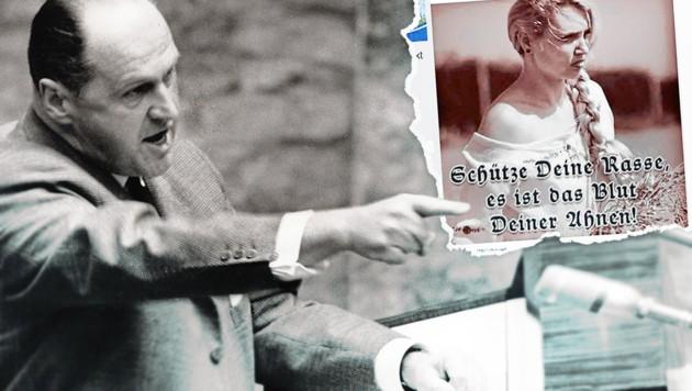Friedrich Peter (li.), ein Obersturmführer der SS, war zwischen 1958 bis 1978 Parteiobmann der FPÖ. Rechts: Entgleisungen der FPÖ in sozialen Medien. (Bild: Express-Bild, facebook.com)