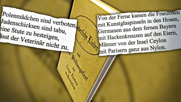 """Die """"Krone"""" veröffentlicht weitere Passagen aus dem Liederbuch, die weitaus obszöner sind als die bereits bekannten. (Bild: krone.at-Grafik/Krone)"""