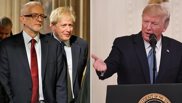 Jetzt mischt sich auch noch US-Präsident Donald Trump in den Brexit-Streit ein. Zwischen Labour-Chef Jeremy Corbyn (li.) und dem britischen Premier Boris Johnson tobt bereits der Wahlkampf. (Bild: AP/AFP/)