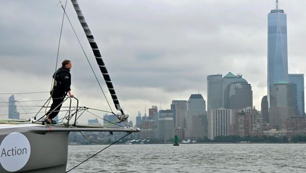 Thunberg auf der Jacht Malizia II bei ihrer Ankunft in New York (Bild: APA/AFP/)