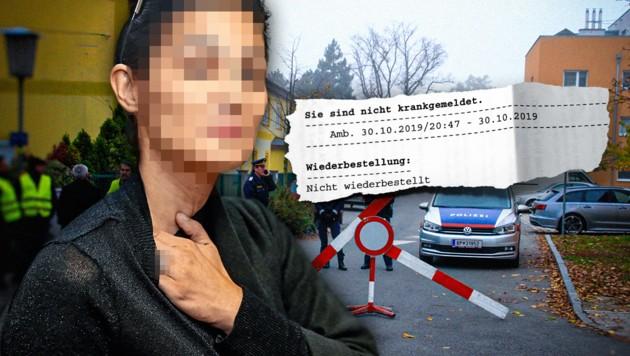 """Canan K. zur """"Krone"""": """"Ich habe Schmerzen."""" Krankgemeldet wurde sie (siehe Ausriss) jedoch nicht. (Bild: krone.at-Grafik/Peter Tomschi, Andreas Schiel)"""