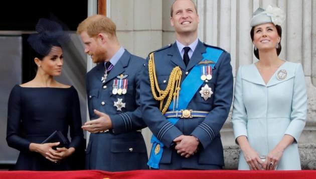 Herzogin Meghan, Prinz Harry, Prinz William und Herzogin Kate (Bild: AFP)