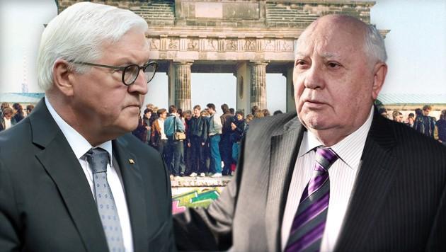 Der deutsche Bundespräsident Frank-Walter Steinmeier dankte dem früheren sowjetischen Präsidenten Michail Gorbatschow für dessen Verdienste bei der Wiederherstellung der deutschen Einheit. (Bild: AP/krone.at-Grafik/dpa)