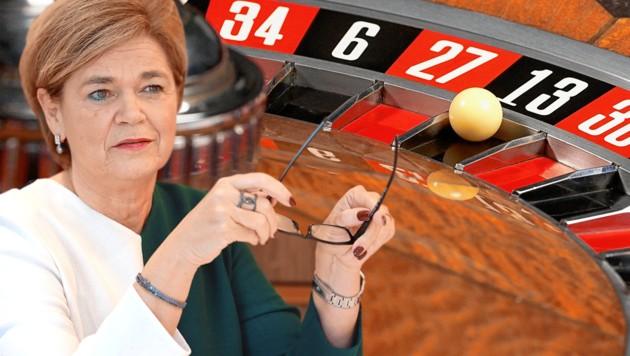 Casino-Chefin Bettina Glatz-Kremnser (Bild: Zwefo, Casinos Austria, krone.at-Grafik)