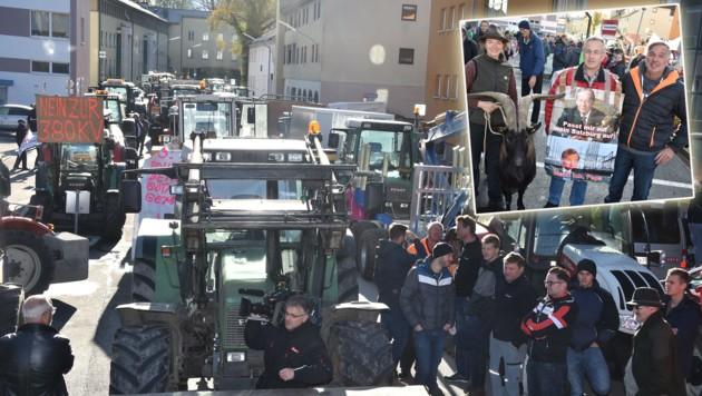 50 Traktoren blockierten die BH in Hallein für Stunden (Bild: Weber)