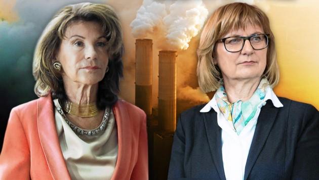 Kanzlerin Brigitte Bierlein (links) und die nach wie vor völlig unbekannte Umweltministerin Maria Patek (rechts) müssen für den Klimaplan viel Kritik einstecken. (Bild: APA/stock.adobe.com/10/)