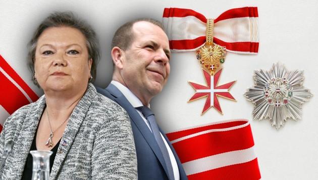 Anneliese Kitzmüller und Harald Vilimsky werden mit hohen Auszeichungen der Republik geehrt. (Bild: APA/10/www.bundespraesident.at)